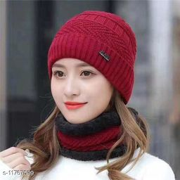 MAYNEISHA Unisex Woolen Caps For Winter Black Color With Muffler