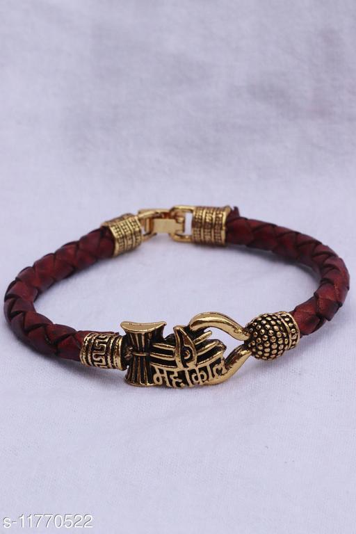 Bhumi09 Om MAHAKAL damroo designer Silver bahubali bracelet For Unisex