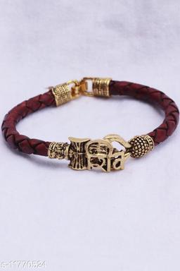 Bhumi09 Om SHIV Trisul damroo designer Gold bahubali bracelet For Unisex