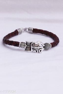 Bhumi09 Om SHIV Trisul damroo designer Silver bahubali bracelet For Unisex