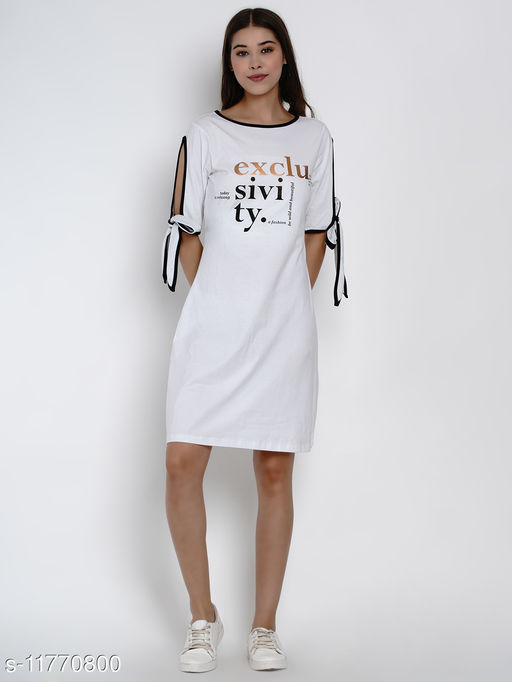 tie up sleeves t-shirt dress