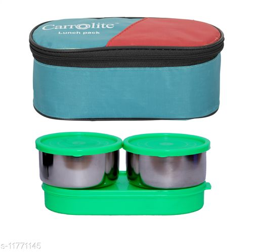 3 in 1 Green (All Green) Steel Lunchbox