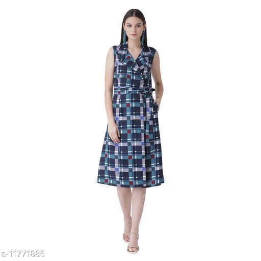 tie knot checkered a-line dress