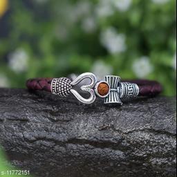Bhumi09 Om Rudraksha Trisul damroo designer Silver bahubali bracelet For Unisex