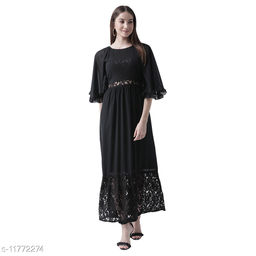 mesh paneled bell sleeved maxi dress