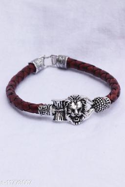 Bhumi09 Om Lion Trisul damroo designer Silver bahubali bracelet For Unisex