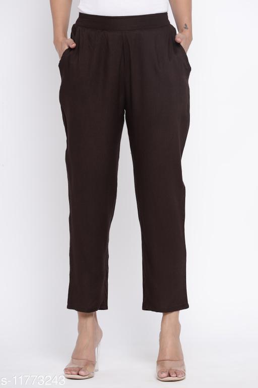 Charu Women's Rayon Dyed Straight Trouser