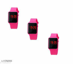UNISEX CLASSY SQURE CUT COMBO-3 PINK DIGITAL WATCHES FOR CHILDREN