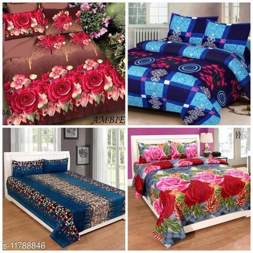 Trendy Pollycotton 90X90 Double Bedsheet