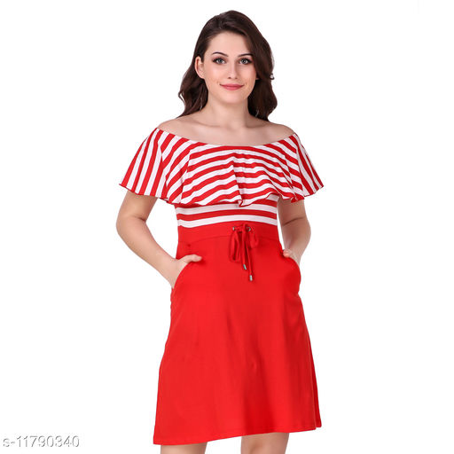 ruffled off shoulder striped a-line dress