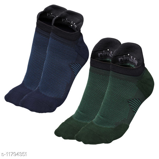 Nimble Premium Ankle Socks for Running Sports & Gym (Arch Support) Free Size (Blue & Green) (Pack of 2)