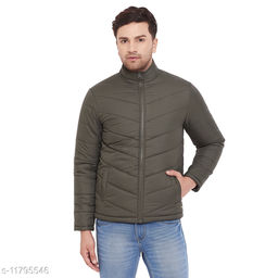 PERFKT-U Men's Olive Solid Puffer Jacket