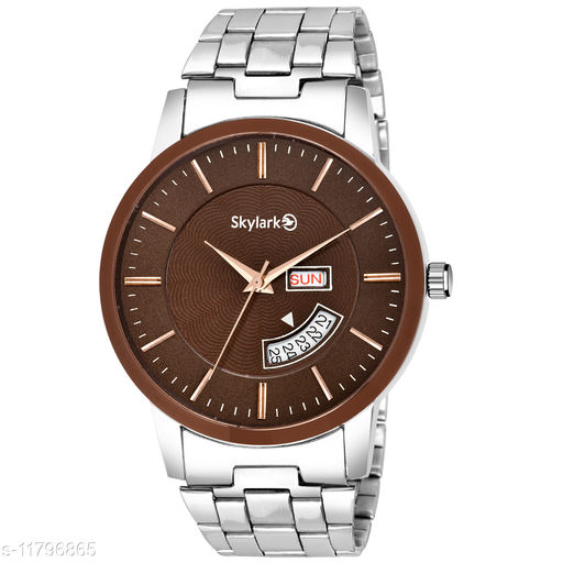 Skylark Sky-576 Round Brown Dial Water Resistant Silver Color Stainless Steel Day & Date Function Watch for Men/Boys Analog Watch - For Men