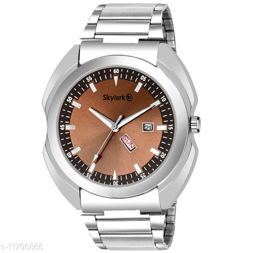 Skylark Sky-573 Round Brown Dial Water Resistant Silver Color Stainless Steel Day & Date Function Watch for Men/Boys Analog Watch - For Men