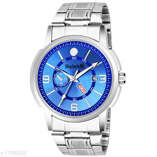 Skylark Sky-578 Round Blue Dial Water Resistant Silver Color Stainless Steel Day & Date Function Watch for Men/Boys Analog Watch - For Men