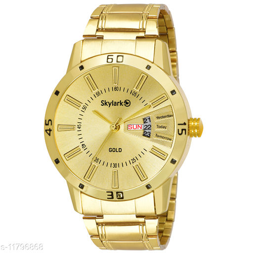 Skylark Sky-584 Round Gold Dial Water Resistant Gold Color Stainless Steel Day & Date Function Watch for Men/Boys Analog Watch - For Men