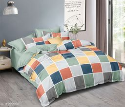 MV Choice 240 TC Heavy Glace cotton Double Bedsheet with 2 Matching Pillow Covers (Multicolour, 90 inches X 100 Inches)