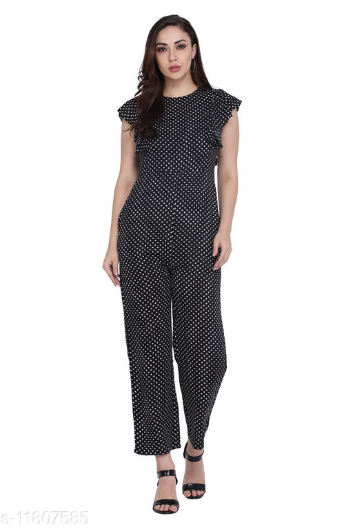 Solid Black Frill Jumpsuits for Women