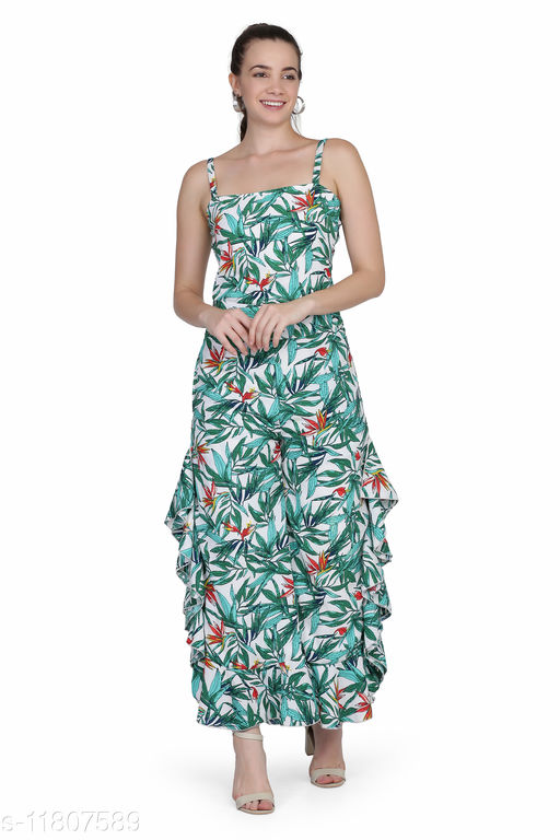 Printed Frill Jumpsuits for Women