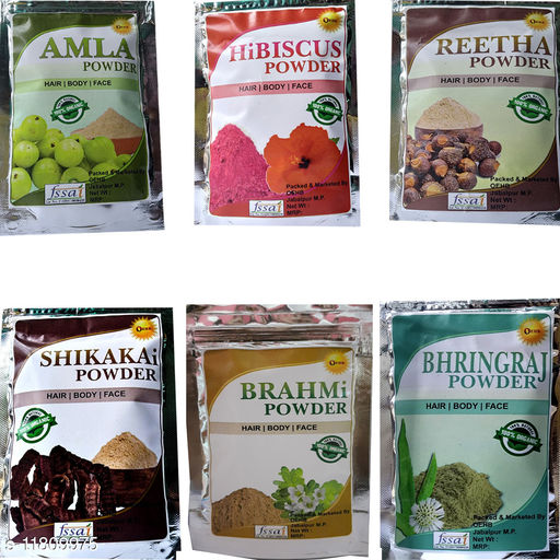 OEHB 100% Organic Amla,Reetha,Shikakai,Bhringraj,Hibiscus and Brahmi Powder Each 50 gm