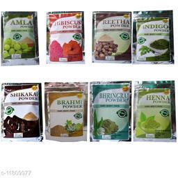 OEHB 100% Organic  Powder Amla,Reetha,Shikakai,Bhringraj,Hibiscus,Henna and Brahmi Each 50 gm