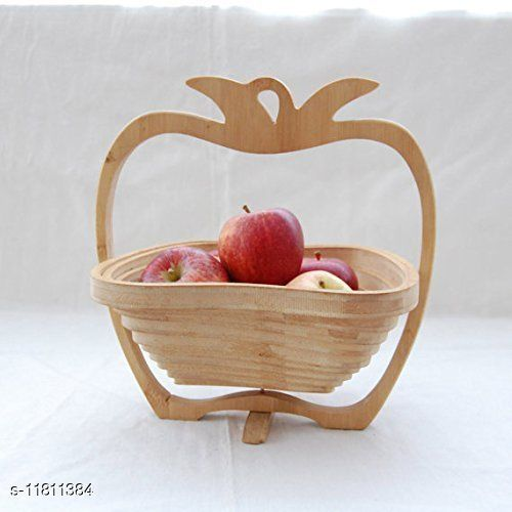 Apple Shape Wooden Basket & Apple Coaster Folding Decorative Folding Wooden Apple Shaped Fruit Bowl