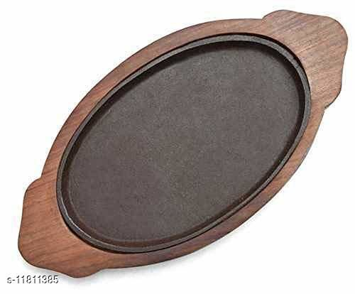 Cast Iron Sizzler Plate with Wooden Base, Brown, (13inch by 7inch)