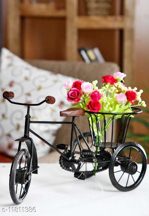 Wrought Iron & Wooden Home Decorative Cycle Rickshaw - Black (Best Home Decor Product & Showpiece) 14X8 inch