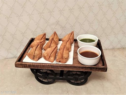 Wood Class Chaman Thela Trolly, Snacks Serving Wooden Platter - 1 piece