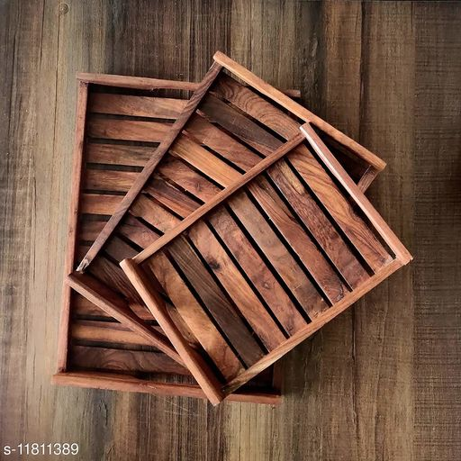Brown Wooden Serving Tray (Pack of 3)