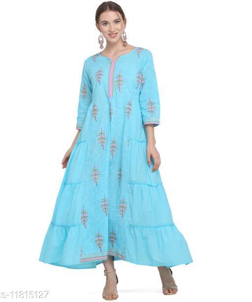 Women'S Cotton Pleated Maxi Dress - Sky Blue