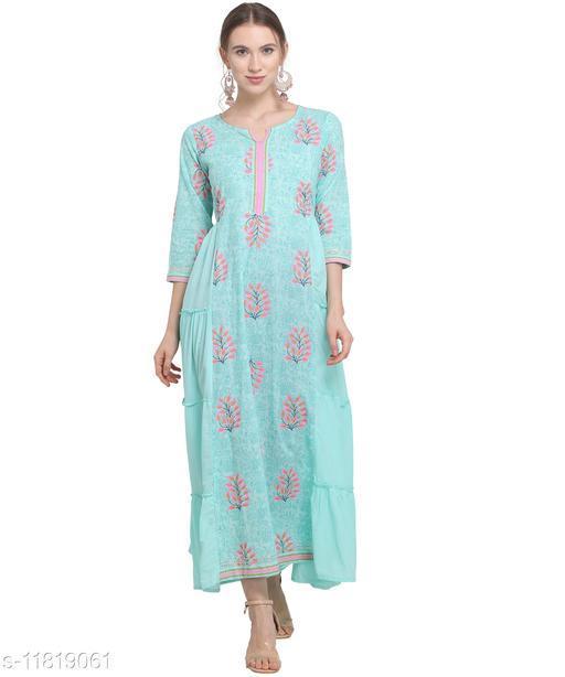 Women'S Cotton Pleated Maxi Dress - Aquamarine Blue