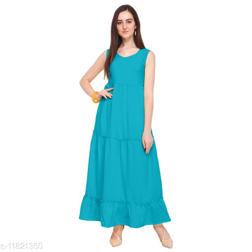 Women'S Crepe Pleated Maxi Dress - Teal Blue