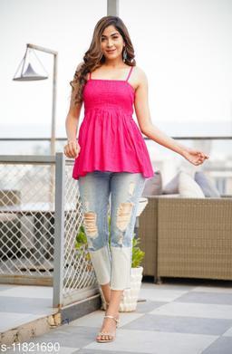 Zamaisha designed Fancy Pink Bobbin Rayon Stylish Top for Women