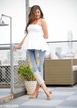 Zamaisha designed Fancy White Bobbin Rayon Stylish Top for Women