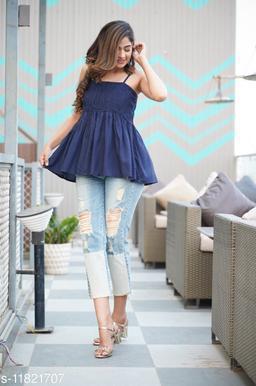 Zamaisha designed Fancy Navy BLue Bobbin Rayon Stylish Top for Women