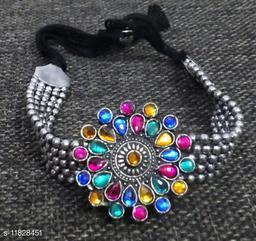 Oxidized Silver Color Adjustable Bracelet/Bangles