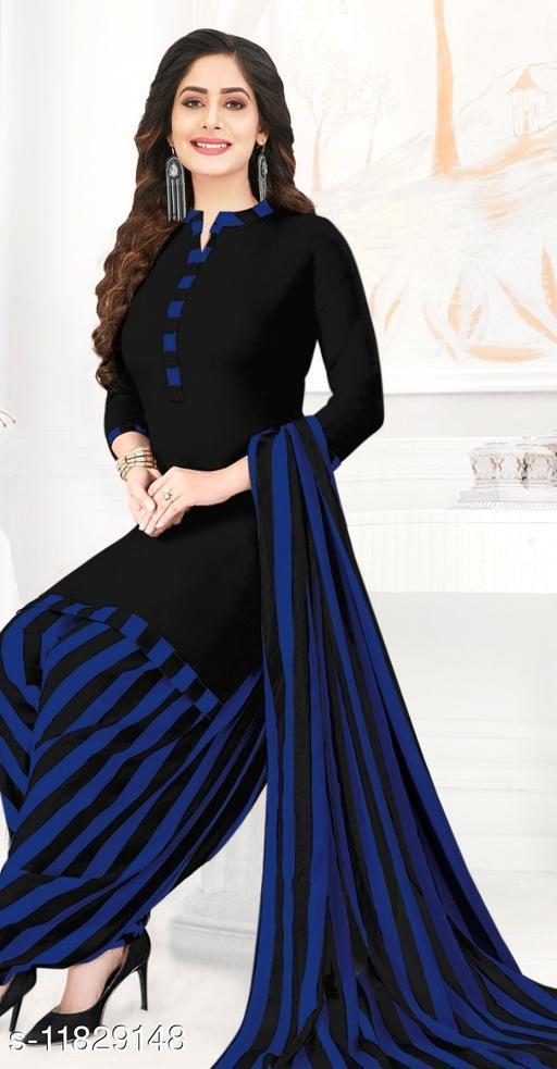 Synthetic Patiyala Printed Black & Blue Dress Material