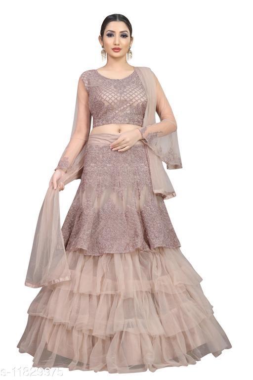 Arvika Dusty Pink Embroidered Nylon Net Wedding wear Flared Lehenga with unstitched blouse