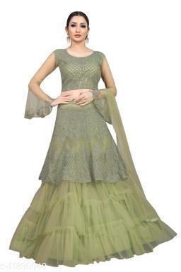 Arvika Pista Embroidered Nylon Net Wedding wear Flared Lehenga with unstitched blouse