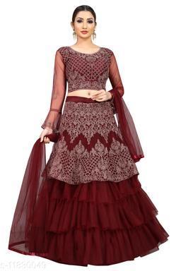 Arvika Wine Embroidered Nylon Net Wedding wear Flared Lehenga with unstitched blouse
