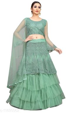 Arvika Sea Green Embroidered Nylon Net Wedding wear Flared Lehenga with unstitched blouse