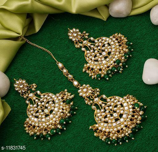 Feminine Chunky Women's Trendy Gold Plated American Diamond Earrings with Maangtikka
