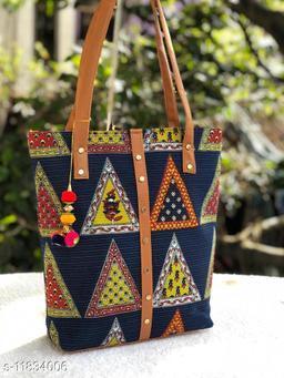 Beautiful Women's Blue Fabric Handbag