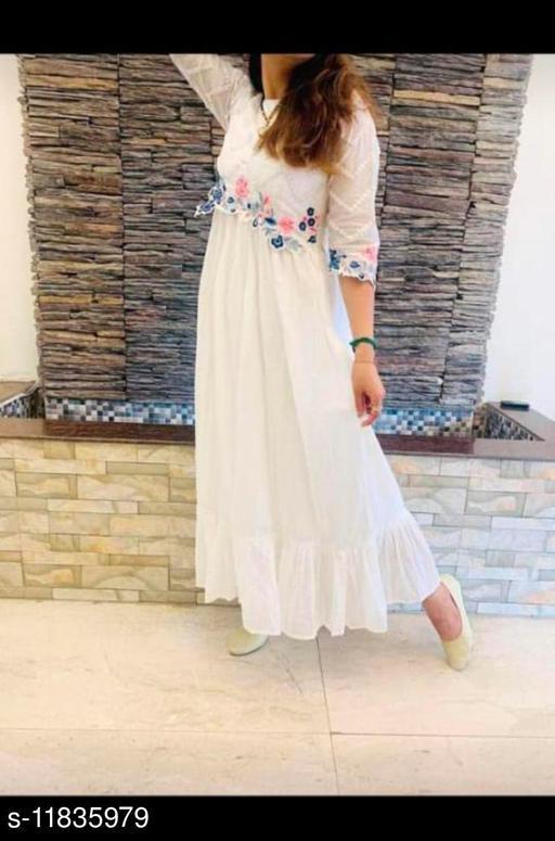Women's Embroidered White Taffeta Silk Kurti