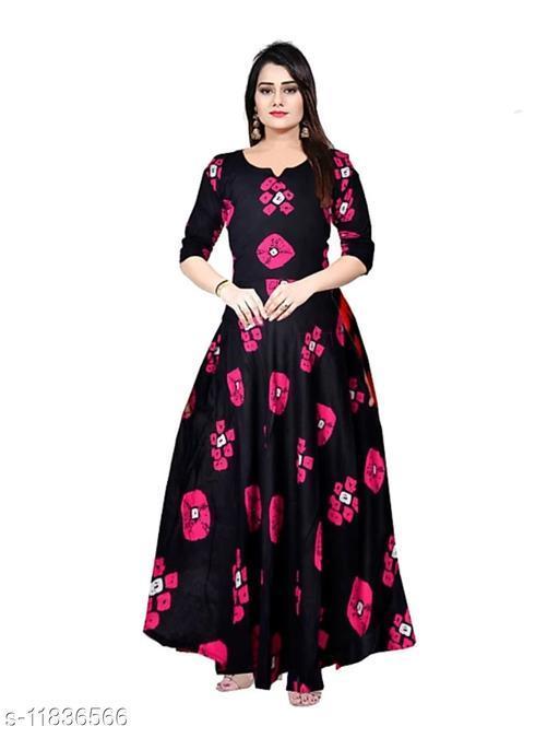Women's Printed Black Pink Rayon Dress