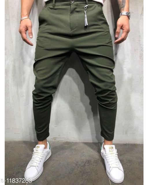 CYPHYR DESIGNS Olive Solid Ankle Length Slim Fit Men's Track Pant