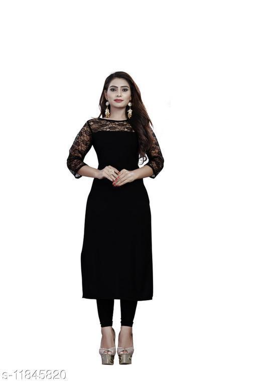 Women's Black Embellished Crepe Kurti