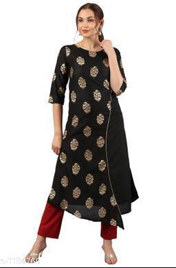 Women's Black Printed Poly Silk Kurti