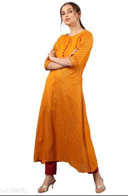 Women Poly Silk A-line Printed Mustard Kurti